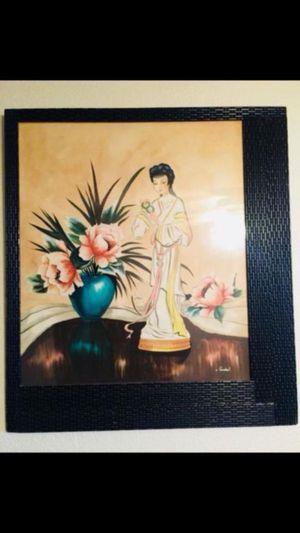 """Vintage Signed Original Japan Framed Art 33""""x36"""" for Sale in Clearwater, FL"""