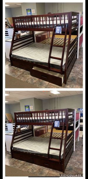Twin over Full Bunk Bed with Mattresses for Sale in Glendale, AZ