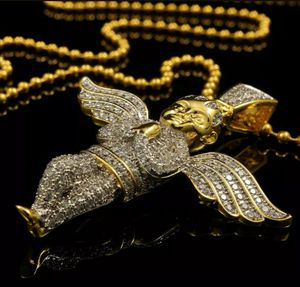 18k Yellow Gold Plated Out Iced Rope Chain ANGEL Pendant Piece Micro Necklace for Sale in Los Angeles, CA