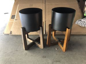 Set of Black Plant Pots with dark wood Stands for Sale in Las Vegas, NV