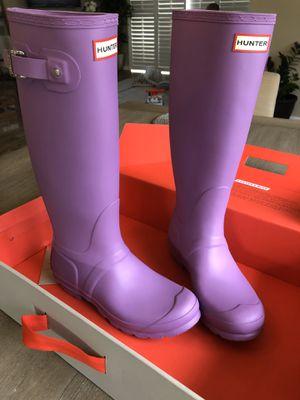 New Hunter Thistle Purple Rain Boots Size 7 In Box for Sale in Moreno Valley, CA