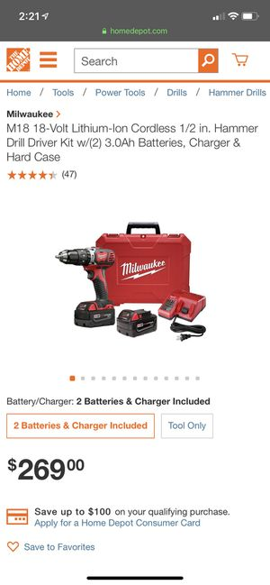 Milwaukee M18 Hammer drill/ driver kit for Sale in Decatur, GA