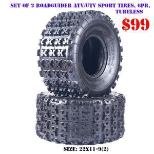 Pair of 2 Roadguider Midas 22x11-9 ATV UTV Knobby sport Tires, 6PLY, Tubeless for Sale in El Monte, CA