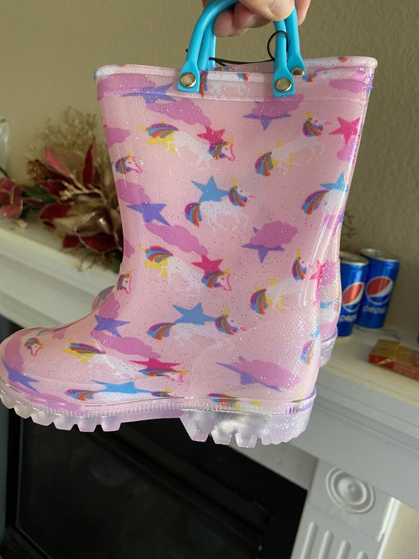 Toddler Boy Girl Rain Boots with Light,Kids Shining Shoes with Mem.