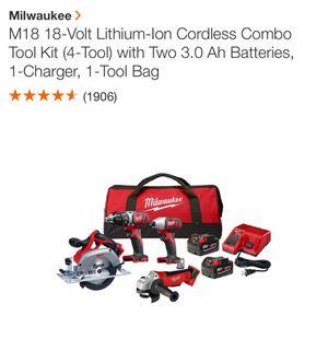 Milwaukee M18 18-Volt Lithium-Ion Cordless Combo Tool Kit (4-Tool) with Two 3.0 Ah Batteries, 1-Charger, 1-Tool Bag for Sale in Manchester, NH