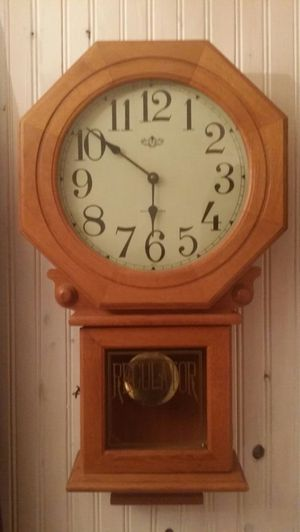Antique Westminister wall Clock plays melody and has moving pendulum for Sale in Cicero, IL