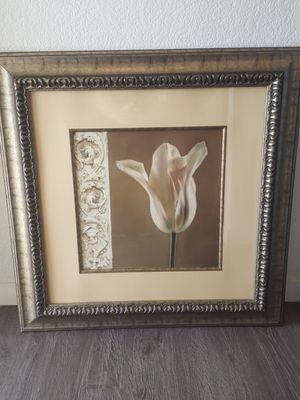 LARGE WOOD FRAMED WHITE TULIP ART WORK for Sale in Phoenix, AZ