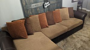 Corner Section lounge couch love seat leather dark brown for Sale in Corona, CA