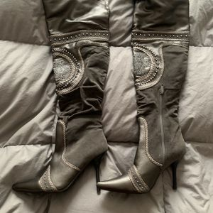 Gray Embellished Knee Boots for Sale in Morton, IL