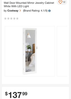 Wall door mounted mirror jewelry cabinet for Sale in Fresno, CA