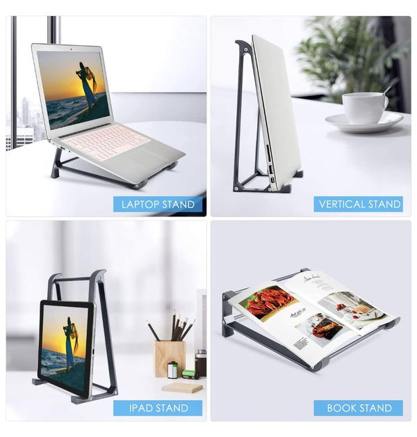 Laptop Stand, 2-1 Laptop Desk Stand, Vertical Laptop Stand for Space-Saving, Ergonomic Laptop Stand
