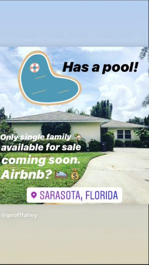 Only Sarasota single family home for sale w/in 1/4 mile. Has a pool! for Sale in Sarasota, FL