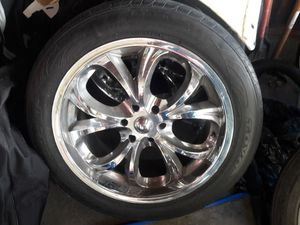 22 in chrome rims and tires all 4 for Sale in Azusa, CA