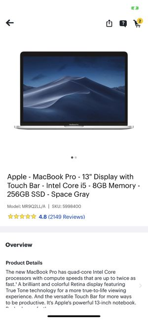 2018 touch bar macbook for Sale in Riverside, CA