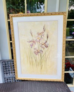 "Framed Matted Floral Art - 41.5"" Tall - 31"" Across - Please Observe All Pictures Closely - More Details Below for Sale in Burien, WA"