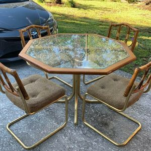 Vintage Octagon Dining Table Wood Glass Brass for Sale in Haines City, FL