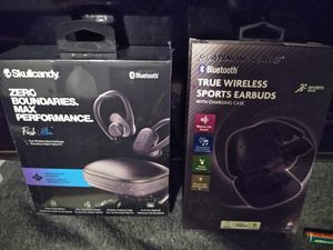 Brand new wireless headphones one is skull candy other regular sports ear buds both loud for Sale in East Haven, CT