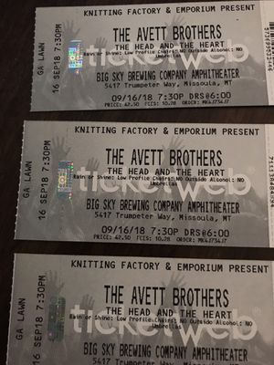 The Avett brothers 3 tickets for 200 for Sale in Missoula, MT