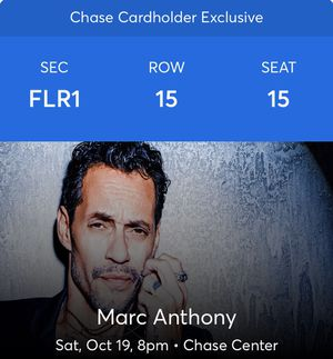 Tonight chase center Marc Anthony (Floor 1, row 15 seats 15-16) for Sale in San Francisco, CA