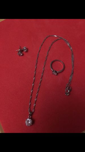 925 Starling Silver diamond set of necklace , earrings & ring, $35 for Sale in Burbank, CA