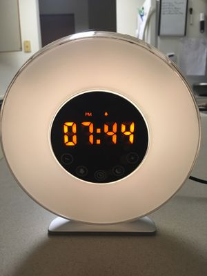 Alarm Clock with sunrise wake up..gradually wakes you up with soothing sunlight simulation. FM radio function also available for waking up or just pl for Sale in Sidney, OH
