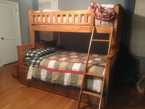 Twin over Full bunk bed w/ a trundle best too for Sale in West Orange, NJ