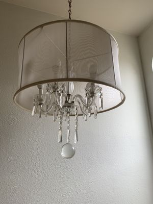 Chandelier pendant light with crystals wrapped with sheer fabric for Sale in RCHO SANTA FE, CA