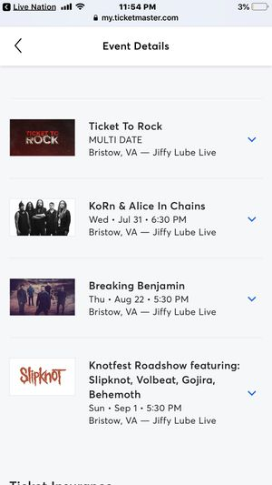 Concert tickets for Sale in New Castle, VA