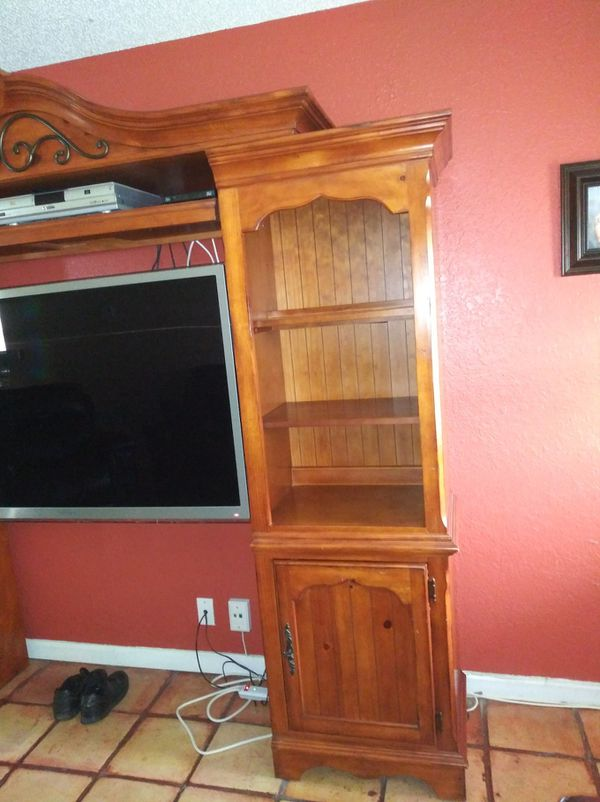 3pc wood wall unit and 55 inch tv 200 takes both . TV lights flick a little not bad but can be fixed.