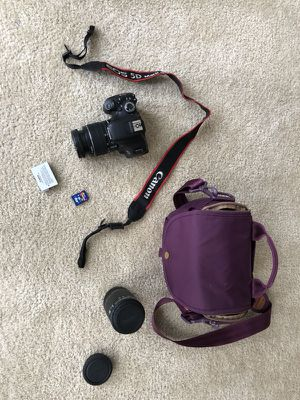 Canon Rebel T3i, 2 lenses, SD card, Photojojo camera bag for Sale in Alexandria, VA
