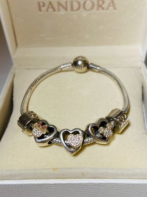Pandora Bracelet - Limited Edition - Mickey and Minnie Charms - Diamonds,Silver and Gold for Sale in Hollywood, FL