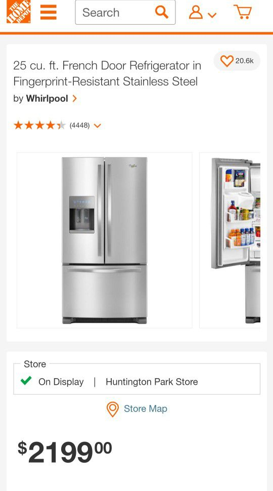 NEW !! WHIRLPOOL 2020 STAINLESS STEEL FRENCH DOOR REFRIGERATOR WITH MINOR DENT AT THE BACK
