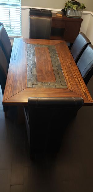 Dining Room Table, Chairs, and Hutch for Sale in Crosby, TX