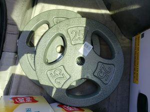 (2) 25 Lb. Olympic Grip Weight Plates. 50 lbs. Total for Sale in Stockton, CA