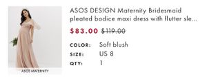 Asos design maternity dress size 8 for Sale in Philadelphia, PA
