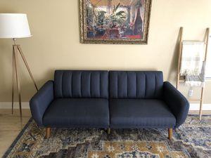 Mid Century Modern Navy Linen Futon Sofa for Sale in Glendale, AZ
