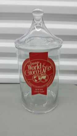 Exquisite World of Chocolates Glass Apothecary Jar / Canister with Lid for Sale in San Antonio,  TX
