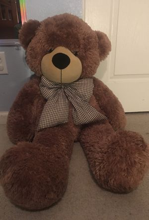 Big Stuffed Teddy Bear with Bow for Sale in Elk Grove, CA
