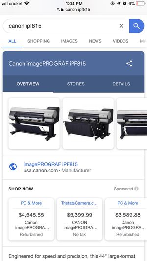 (2) Canon Industrial Printers iPF815 for Sale in Newport News, VA