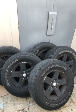 Jeep Wrangler Goodyear 5 tires/rims used and 1 new tire for Sale in Huntington Beach, CA