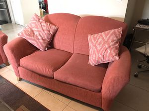 Sofa Loveseat Chaise - cloth - apricot - with 4 pillows for Sale in Fort Lauderdale, FL