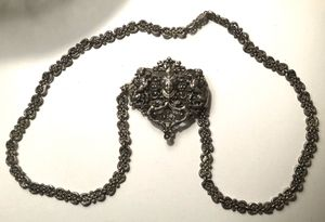 Antique Victorian 800 Silver? Ornate Belt Buckle Belt Chain Necklace Steampunk for Sale in Bethel, CT