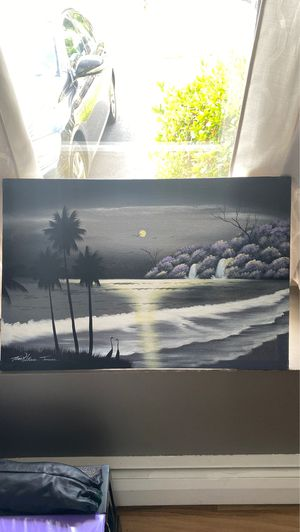 ORIGINAL ARTWORK FROM JAMAICA TROPICAL BEACH PALM TREES WATERFALL SIGNED BY TED WILLIAMS for Sale in Warwick, RI