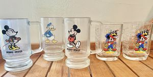 Disney Mickey, Minnie, and Donald vintage beer glasses, also included are two vintage McDonald's Disney Mickey Director's collectors glasses for Sale in Miami, FL