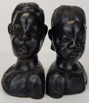 Hand Carved African Man & Woman Busts/Bookends/Statues for Sale in Mesa, AZ
