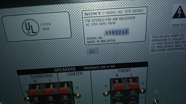 Sony surround sound AM / FM stereo receiver