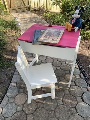 Cute Refinished Toddlers Desk and Chair. for Sale in Bowie, MD