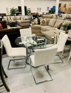 💲39 Down Payment🆕️ Madanere White/Chrome Dining Room Set | D275 byAshley G456👆IN STOCK👆 for Sale in Alexandria,  VA