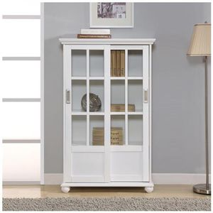 White Bookcase w/ Sliding Glass Doors for Sale in Dallas, TX