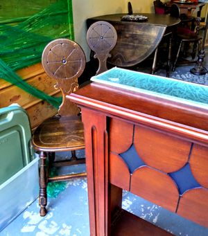 RARE Antique English Pub Tavern Dropleaf Table SET w/ Drawer & 4 Unique Chairs $595 Ranch Oak Craftsman or 1800s Armchair $60 Big Mirror $165 + MORE⬇ for Sale in Puyallup, WA